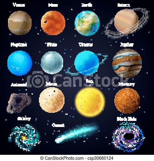 Cosmos Stars Planets Galaxy Icons Set Universe Cosmic
