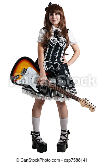 Cosplay woman in black dress with guitar - csp7588141