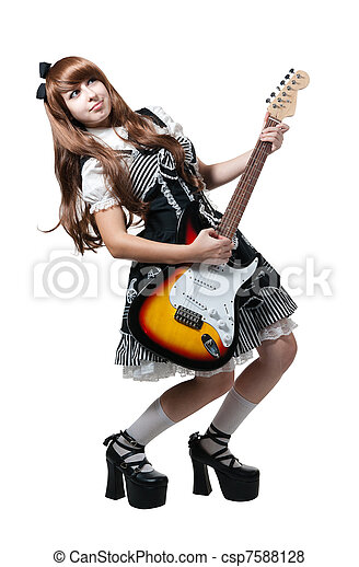 Cosplay woman in black dress with guitar - csp7588128