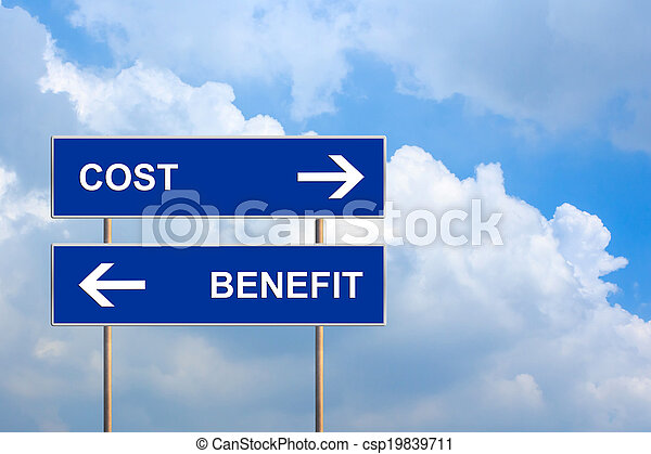 cost and benefit on blue road sign - csp19839711