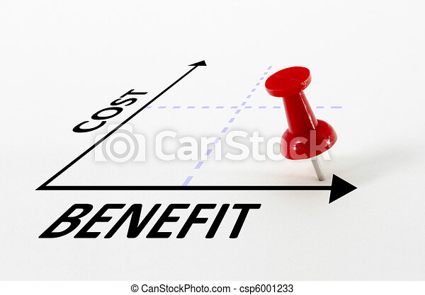Cost Benefit Analysis Concept with Target Pin Marker - csp6001233