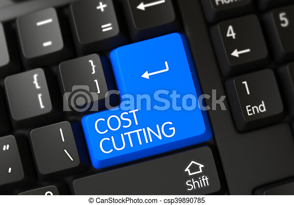 Cost Cutting Close Up of Blue Keyboard Keypad. 3D Illustration. - csp39890785