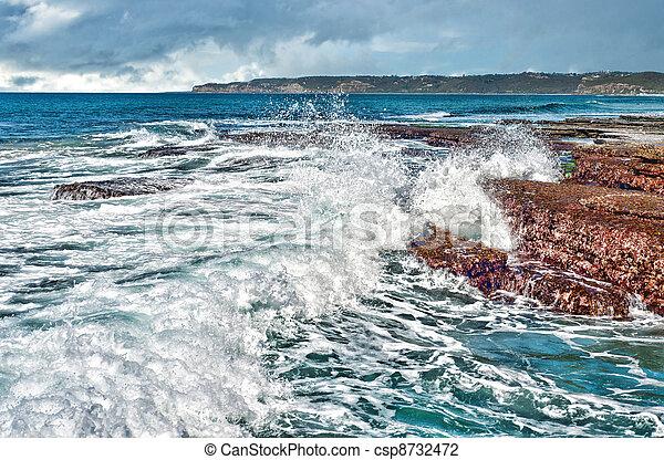 costa, ondas, pedras - csp8732472