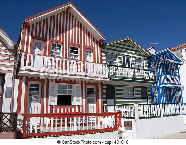 Costa portugal maison nova p cheur typique costa portugal nova maisons raie - Maison de pecheur portugal ...