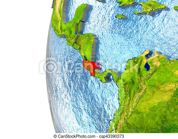 Costa Rica in red - csp43390373