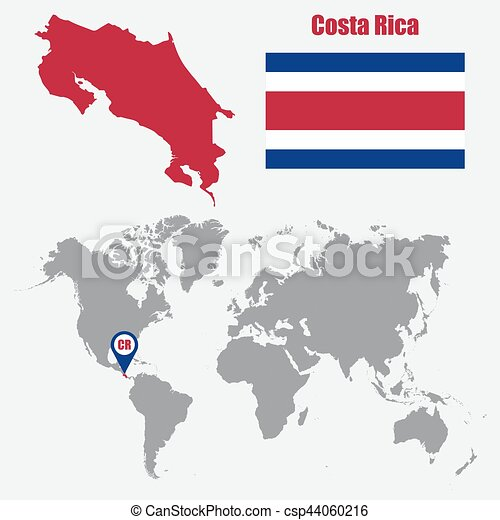 Costa rica map on a world map with flag and map pointer vector costa rica map on a world map with flag and map pointer vector illustration gumiabroncs Images