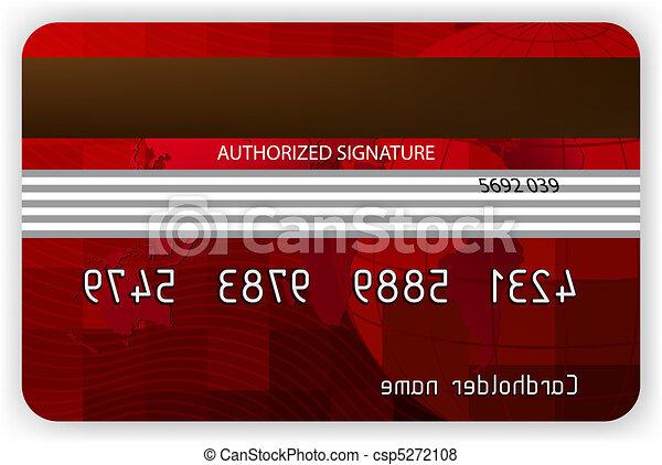 costas, eps, crédito, vetorial, 8, vista., cartões, vermelho - csp5272108