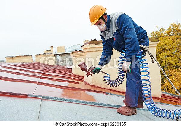 costruttore, lavoratore, roofer, pittore - csp16280165