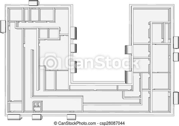 costruzione, bianco, piano - csp28087044