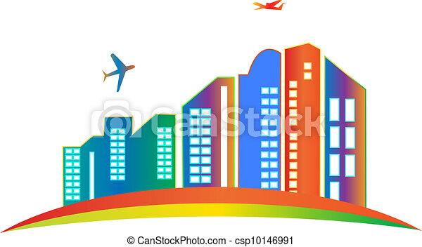 costruzione, città, grattacielo, logotipo - csp10146991