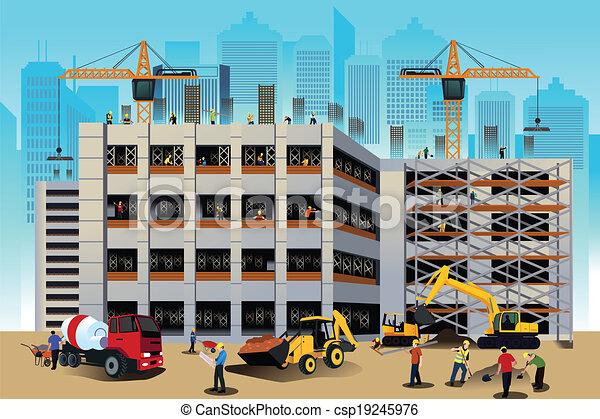 costruzione costruzione, scena - csp19245976