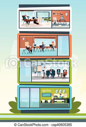 costruzione, lavorativo, centro, ufficio, moderno, businesspeople, affari, interno - csp40605385
