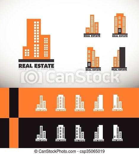 costruzione, reale, logotipo, grattacielo, proprietà - csp35065019