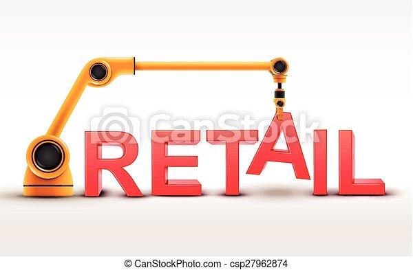 costruzione, vendita dettaglio, industriale, braccio robotizzato, parola - csp27962874
