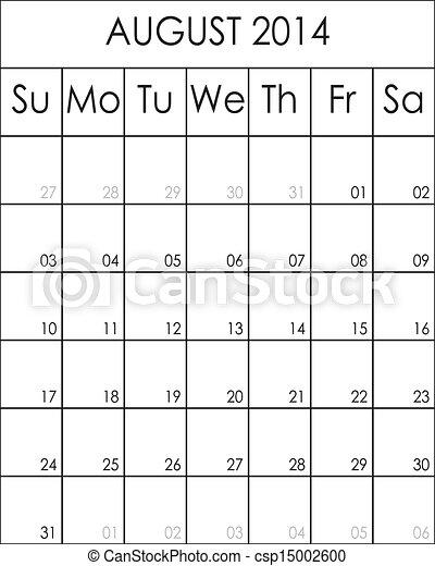 Costumizable Planner Calendar August 2014  big eps file - csp15002600