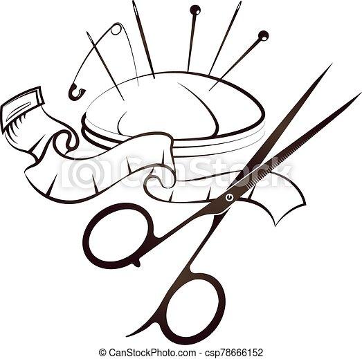 costura, corte, símbolo, sastre - csp78666152