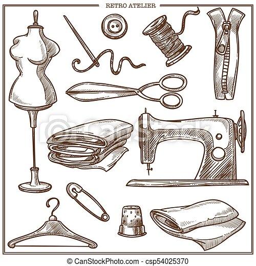 costureira, salão, alfaiate, ícones, atelier, esboço, equipamento, vetorial, retro, ou - csp54025370