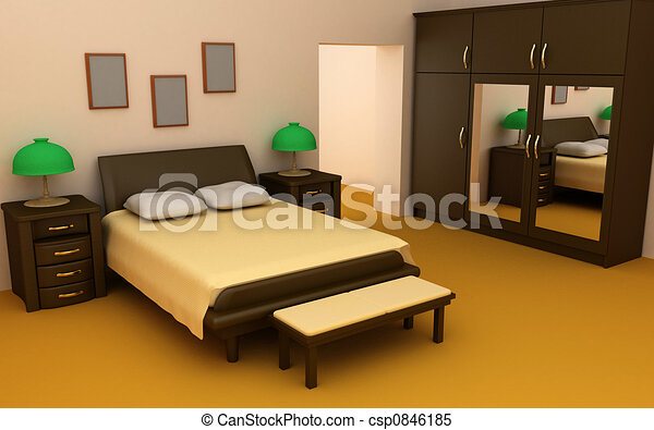 Cosy Bedroom Interior 3D Stock Illustrations - Search Clipart