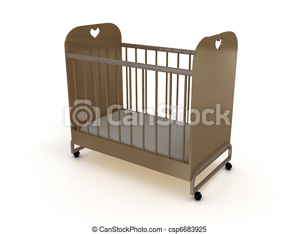 Cot on wheels with a mattress - csp6683925