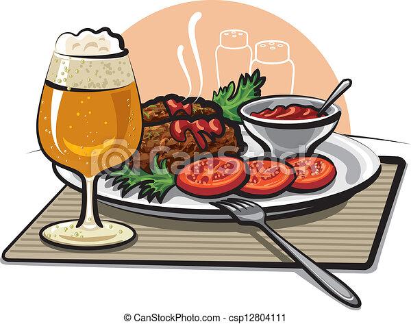 cotolette, birra, salsa - csp12804111