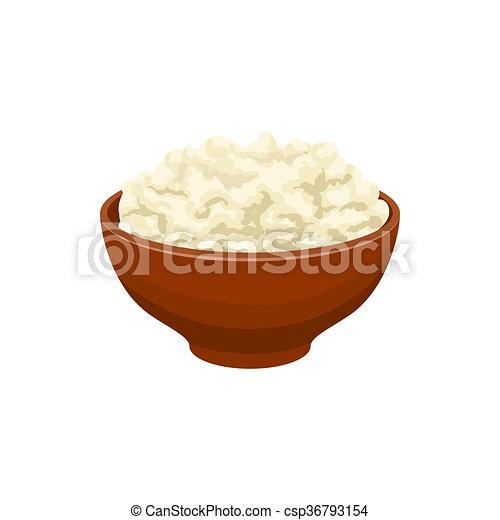 Cottage Cheese Icon Cartoon Style Stock Illustration
