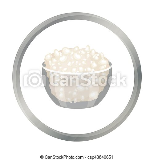 Cottage Cheese In The Bowl Icon Cartoon Style Isolated On White Background Milk Product And