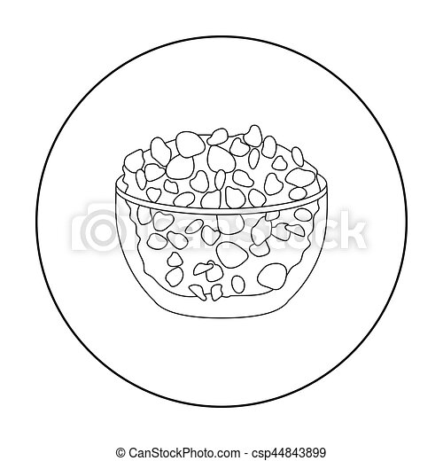 Cottage Cheese In The Bowl Icon Outline Style Isolated On White Background Milk Product And