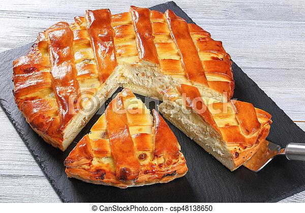 cottage cheese raisins, almonds, vanilla pie - csp48138650