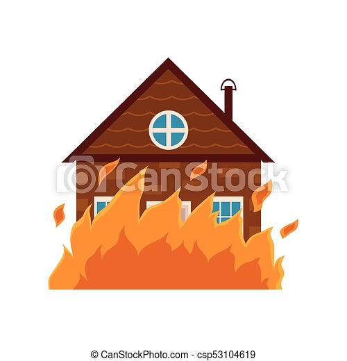 cottage house burning fire insurance concept icon cartoon rh canstockphoto com how to draw a cartoon house on fire cartoon house on fire black lives matter