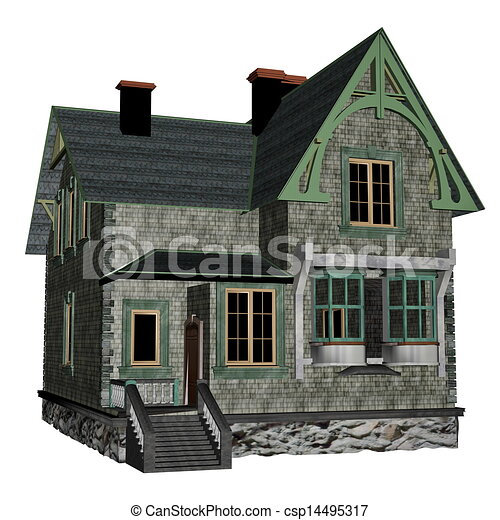 Cottage house Big green beautiful cottage house in white background