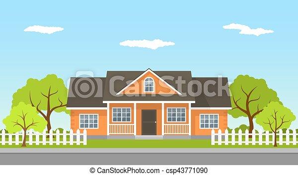 cottage house landscape - csp43771090