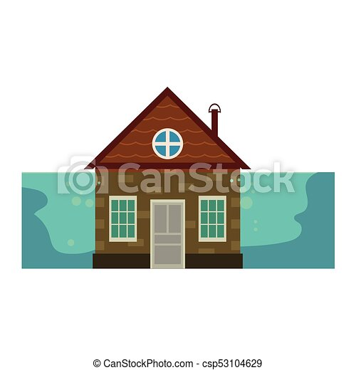 Cottage House Under Water Flood Insurance Icon Vector