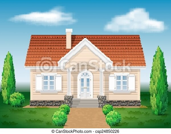 cottage house with the environment - csp24850226