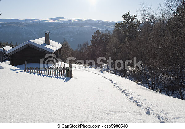 cottage in the winter - csp5980540