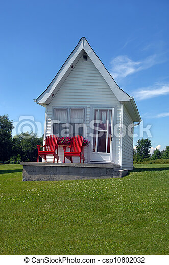 cottage lodging cottage has bright red chairs to match its red door rh canstockphoto com Kingston Jamacia Kingston Technology