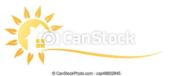 Cottage Logo A Of Country House With Sun Eps Vector