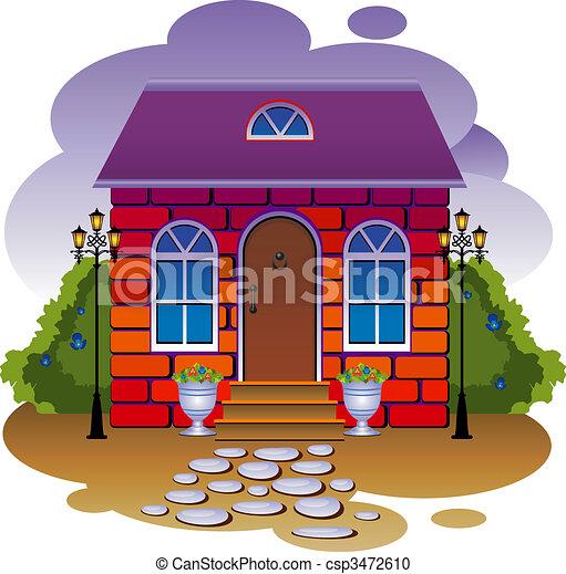 Cottage. Vector illustration - csp3472610