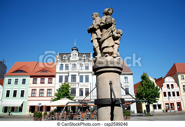 cottbus, germany, altmarkt market place with well and historic houses - csp2599246