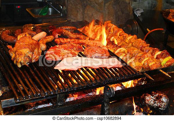 cotto ferri, delizioso, barbecue, carne - csp10682894