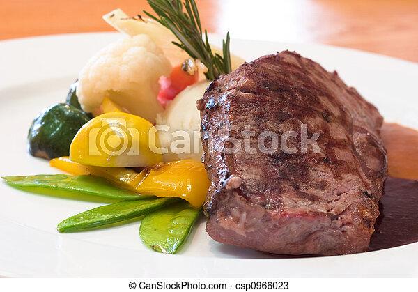 cotto ferri, manzo, bistecche - csp0966023