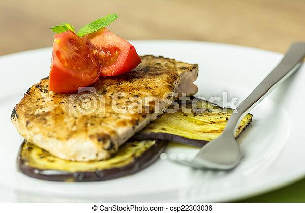 cotto ferri, pianta, fetta, uovo, carne di maiale - csp22303036