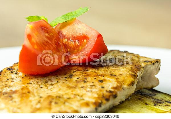 cotto ferri, pianta, fetta, uovo, carne di maiale - csp22303040