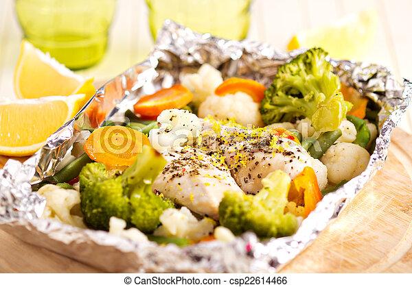 cotto, verdura, limone, lamina, pollo - csp22614466