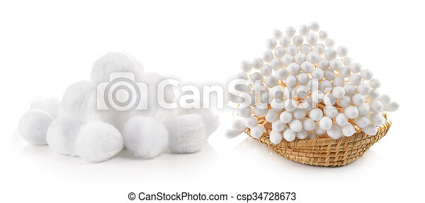 cotton bud and cotton wool in the basket on white background - csp34728673