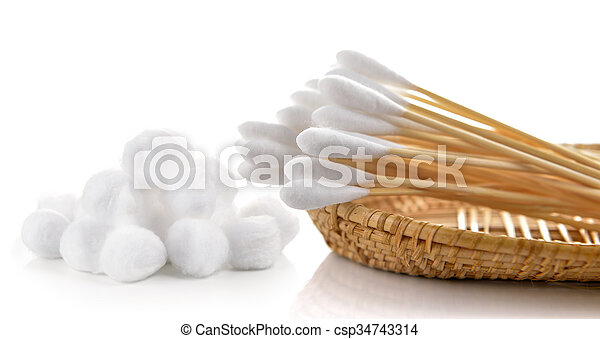 cotton bud and cotton wool in the basket on white background - csp34743314