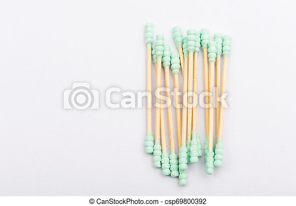Cotton buds isolated on white background - csp69800392