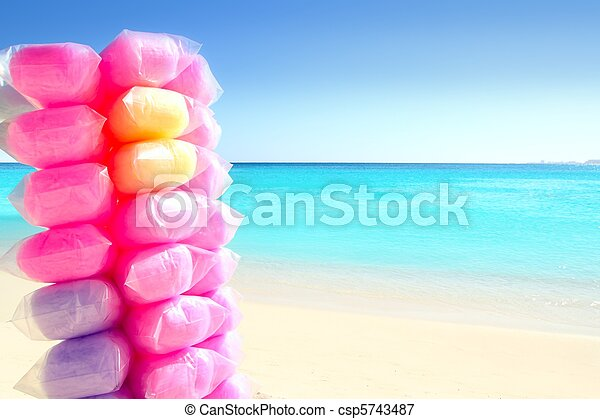 Cotton candy colorful in Caribbean beach - csp5743487