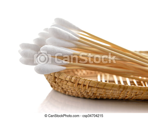 cotton in the basket on white background - csp34704215
