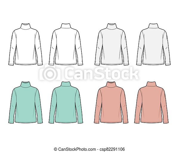 Cotton Jersey Top Technical Fashion Illustration Set With Turtleneck Tunic Length Oversized Body Long Sleeves Flat Cotton