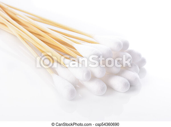 Cotton sticks isolated on white background - csp54360690